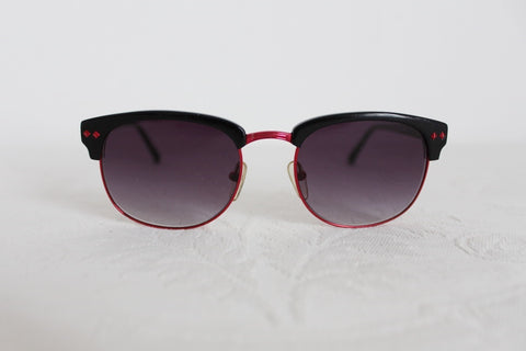 LINDA FARROW DESIGNER BLACK RED SUNGLASSES