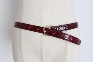 GENUINE SNAKE SKIN VINTAGE RED BELT