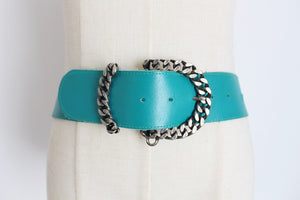 VINTAGE GENUINE LEATHER TURQUOISE BELT