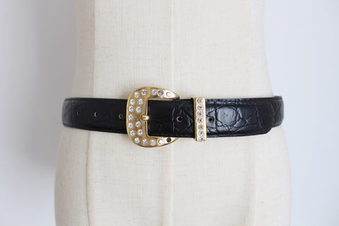 VINTAGE GENUINE LEATHER CROC EMBOSSED BELT - ITALY