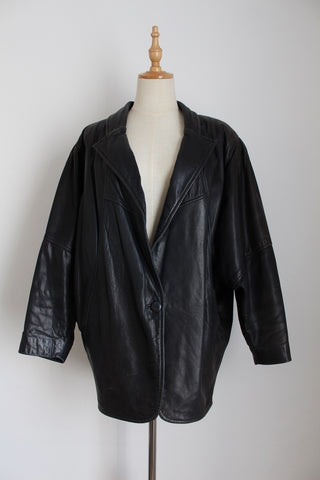 GENUINE LEATHER VINTAGE OVERSIZE BATWING JACKET - SIZE M