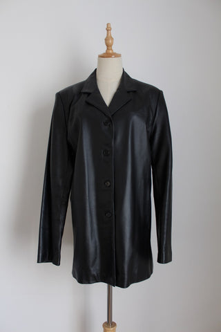 GENUINE NAPPA LEATHER BLACK JACKET - SIZE 16
