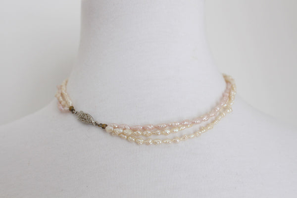 VINTAGE FRESHWATER RICE PEARL THREE STRAND NECKLACE