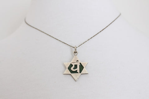 VINTAGE STERLING SILVER HEBREW JEWISH STAR OF DAVID PENDANT NECKLACE