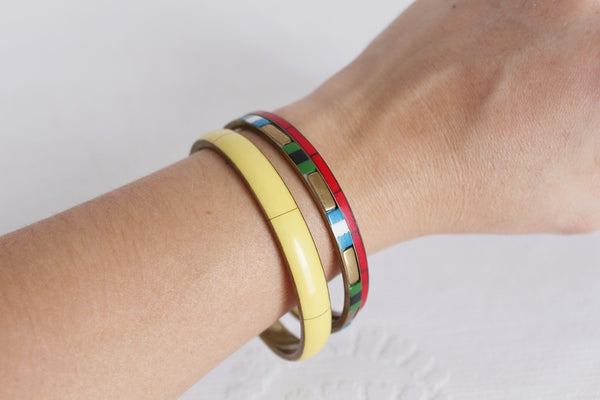 VINTAGE MULTI-COLOURED INLAY BRASS BANGLES