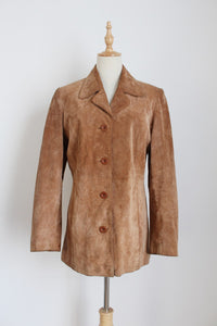 VINTAGE GENUINE PIG SUEDE TAN JACKET - SIZE 8