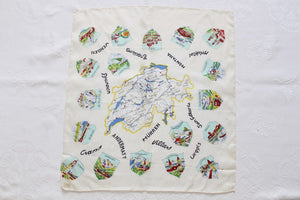 100% SILK VINTAGE SWISS MAP SCARF