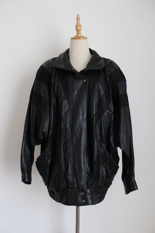 VINTAGE GENUINE LEATHER BATWING BOMBER JACKET - SIZE XL