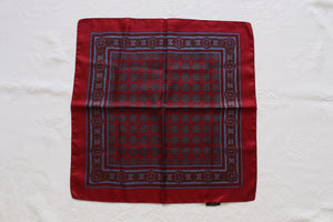 100% SILK VINTAGE RED BLUE PRINTED POCKET SQUARE SCARF