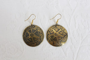 VINTAGE HAND MADE BRASS EMBOSSED CIRCLE EARRINGS
