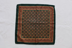 100% SILK ITALIAN VINTAGE GREEN PRINTED POCKET SQUARE SCARF