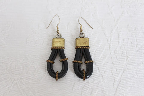 VINTAGE LEATHER BRASS DROP EARRINGS