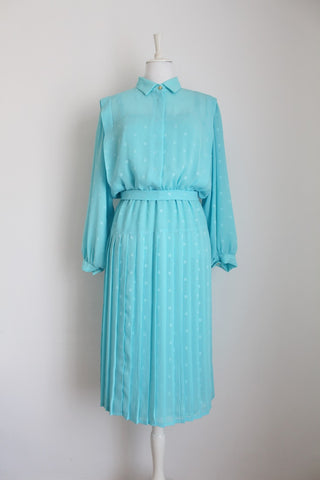 VINTAGE SKY BLUE PLEATED BELTED DRESS - SIZE 16