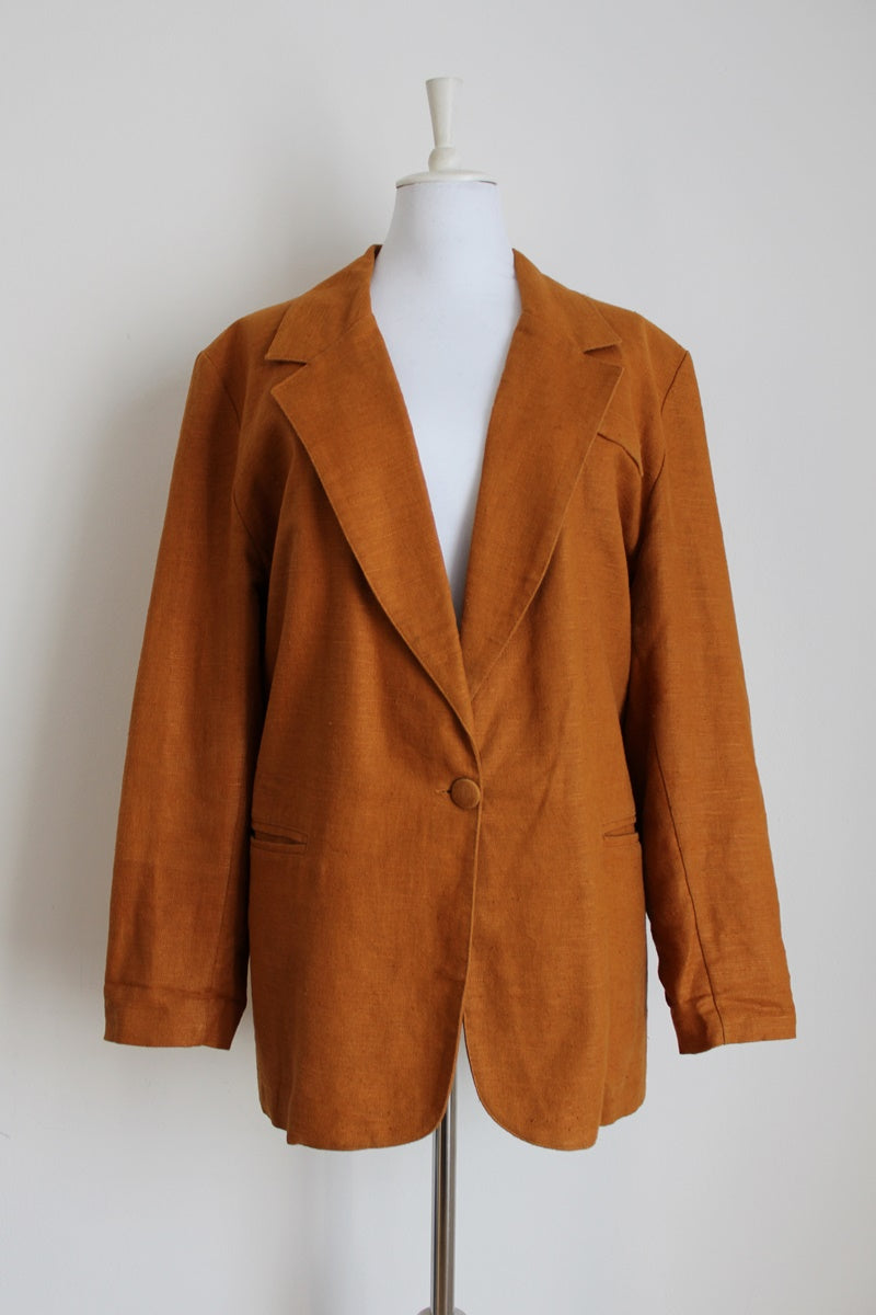 BURNT ORANGE LINEN VINTAGE BOYFRIEND BLAZER - SIZE 16