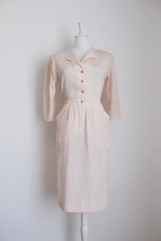 VINTAGE PRINTED WHITE PINK DAY DRESS - SIZE 10