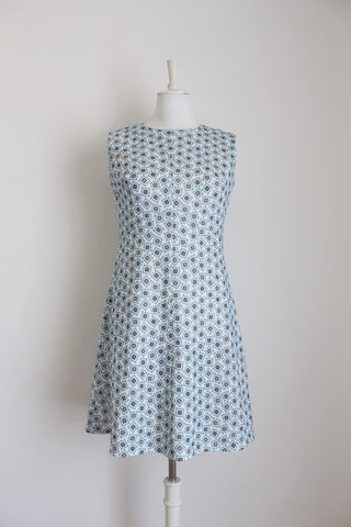 VINTAGE BLUE PRINTED SLEEVELESS DRESS - SIZE 8