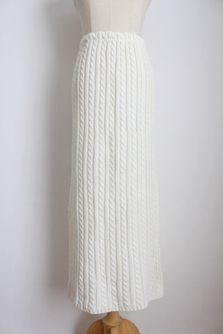 VINTAGE JERSEY KNIT CREAM SKIRT - SIZE M