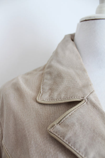GENUINE SUEDE BEIGE COAT JACKET - SIZE 8