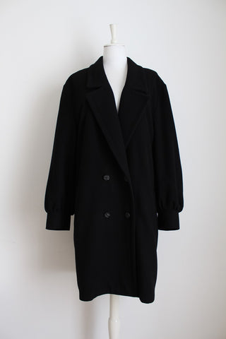 VINTAGE BLACK WOOL DOUBLE BREASTED COAT - SIZE 12