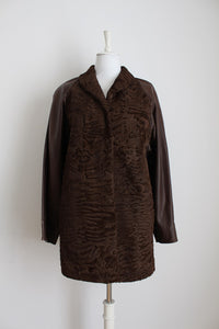 GENUINE KARAKUL FUR LEATHER VINTAGE BROWN COAT - SIZE 14