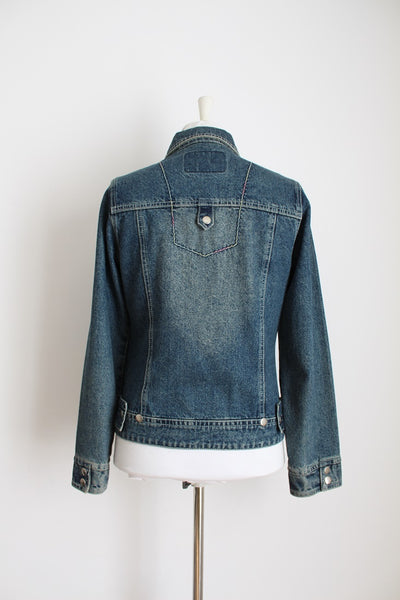 VINTAGE DENIM BLUE ZIP FRONT JACKET - SIZE 8