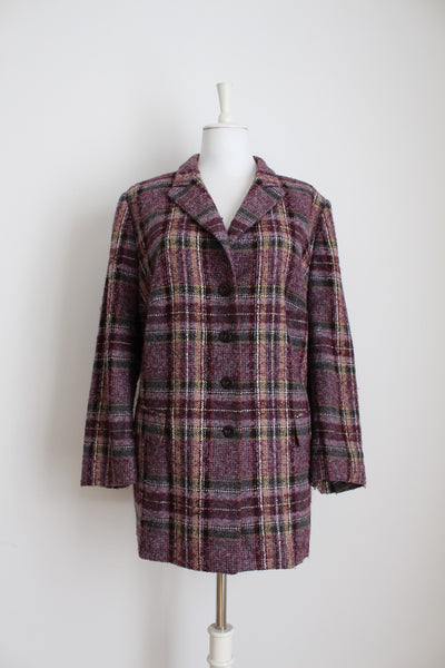 BASLER DESIGNER VINTAGE PURPLE PLAID COAT - SIZE 22