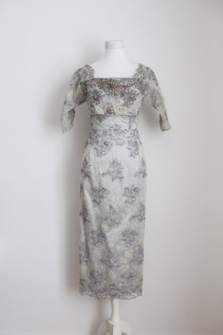 VINTAGE BEADED LACE SILVER COCKTAIL DRESS - SIZE 4