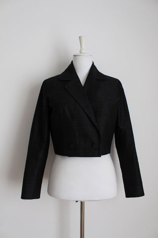 100% SILK VINTAGE BLACK CROPPED JACKET - SIZE 10