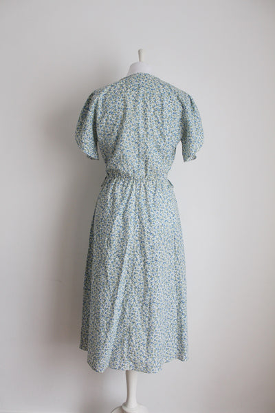 VINTAGE COTTON FLORAL BLUE GREEN TULIP SLEEVES DAY DRESS - SIZE 10