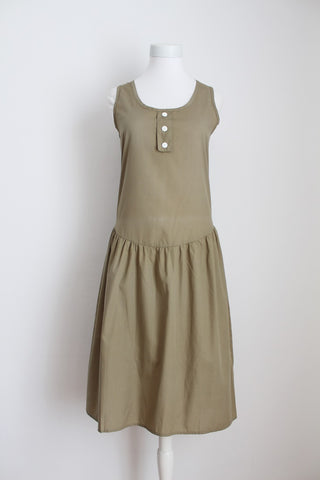 VINTAGE KHAKI GREEN DROP WAIST DAY DRESS - SIZE 8