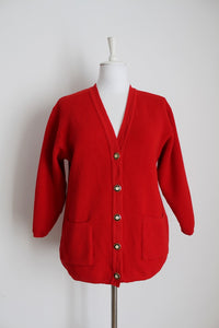 VINTAGE SWISS WOOL RED CARDIGAN JERSEY - SIZE 12
