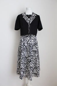 VINTAGE BLACK WHITE GEOMETRIC PRINT TWO PIECE - SIZE 10