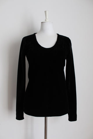 VINTAGE VELOUR BLACK LONG SLEEVE TOP - SIZE L