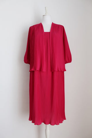 VINTAGE PLEATED HOT PINK TWO PIECE SET - SIZE 12