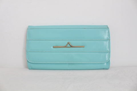 GENUINE LEATHER VINTAGE PASTEL BLUE CLUTCH BAG