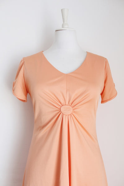VINTAGE APRICOT MAXI FORMAL DRESS - SIZE 8