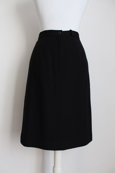VINTAGE WOOL BLACK A-LINE PLEATED SKIRT - SIZE 8