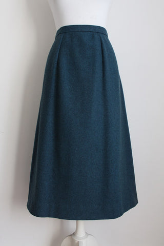 100% WOOL VINTAGE TEAL A-LINE SKIRT - SIZE 14