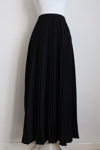 VINTAGE PLEATED BLACK MAXI SKIRT - SIZE 10