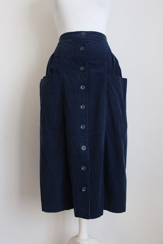 VINTAGE CORDUROY BLUE BUTTON DOWN SKIRT - SIZE 10