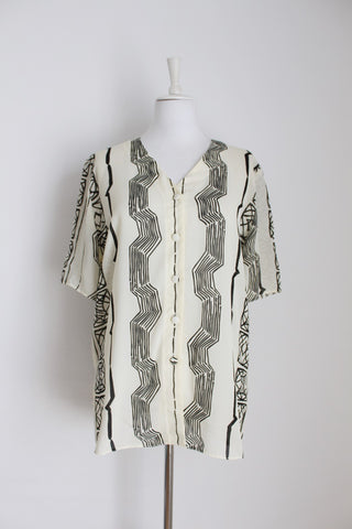 VINTAGE CREAM BLACK AFRICAN PRINT BLOUSE - SIZE 14