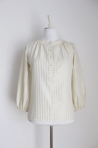 VINTAGE GOLD WHITE STRIPE BLOUSE - SIZE 10
