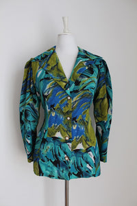VINTAGE FITTED GREEN PRINTED BLOUSE - SIZE 10
