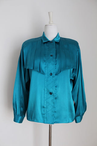 VINTAGE SATIN TEAL PLEATED FRONT BLOUSE - SIZE 12