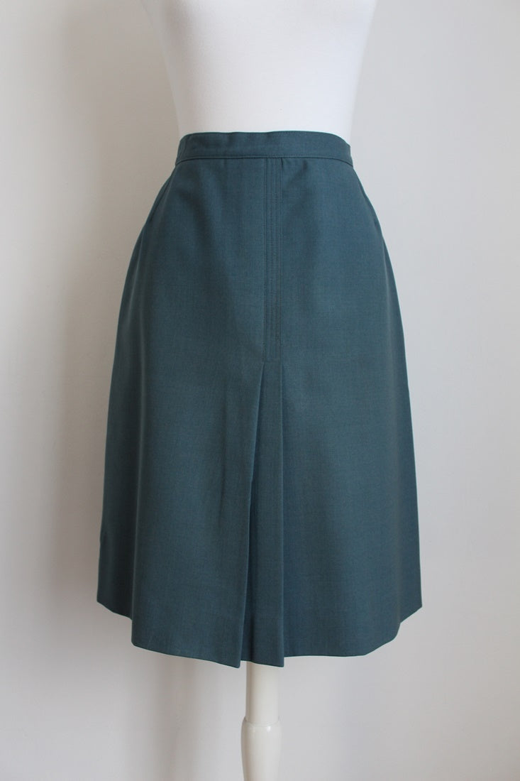 VINTAGE BLUE WOOL A-LINE PLEATED SKIRT - SIZE 6