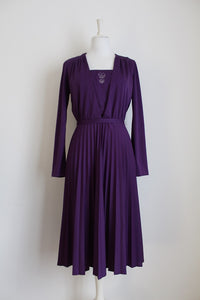 VINTAGE PURPLE PLEATED LONG SLEEVE COCKTAIL DRESS - SIZE 10