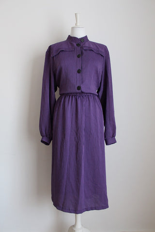 VINTAGE PURPLE BLACK STRIPE LONG SLEEVE DRESS - SIZE 18