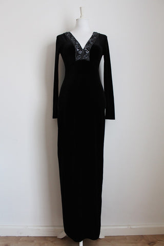 BLACK VELVET STRETCH BEADED MAXI DRESS - SIZE 10