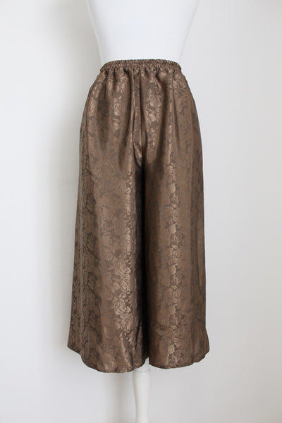 VINTAGE FLORAL BROWN PLEATED TWO PIECE PANTS SET - SIZE 10
