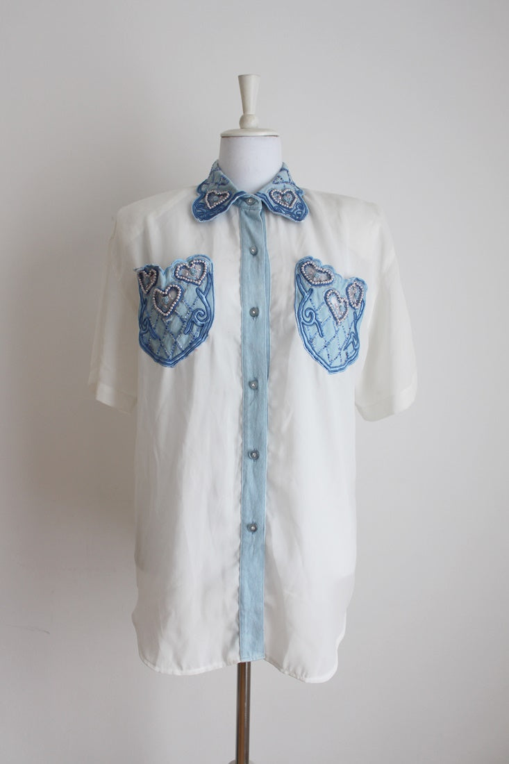VINTAGE BEADED DENIM BLUE WHITE SHIRT - SIZE 16